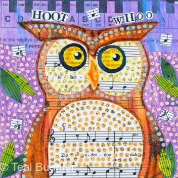 Hoot Owl - 6x6 Collage on wood panel