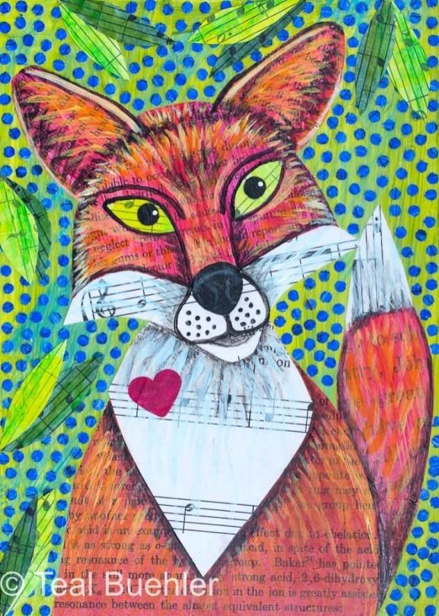 Fox Love - 5x7 Collage on wood panel