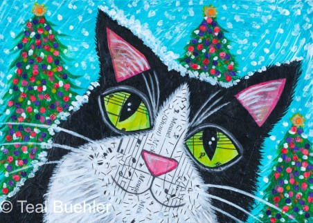 Snow Cat - 5x7 Collage on wood panel
