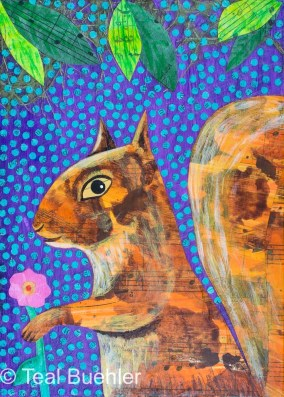 Flower Squirrel - 5x7 Collage on wood panel