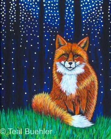 Starry Night Fox 8 x 10 Acrylic on canvas