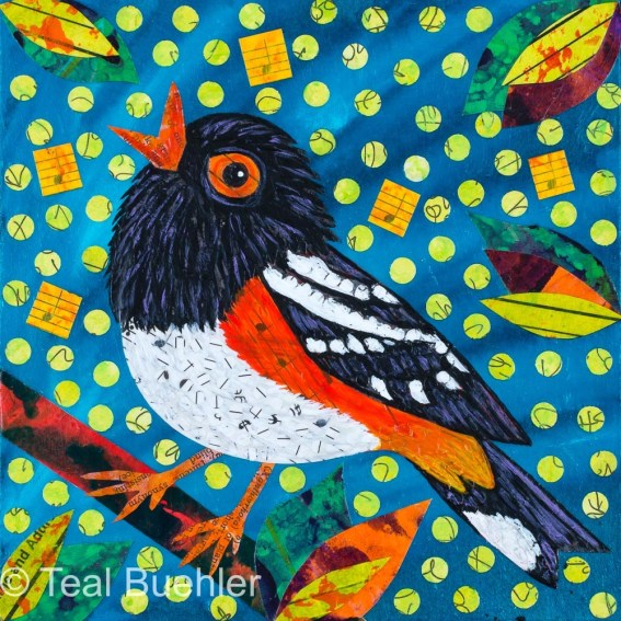 Towhee Notes - 6x6 Collage on wood panel