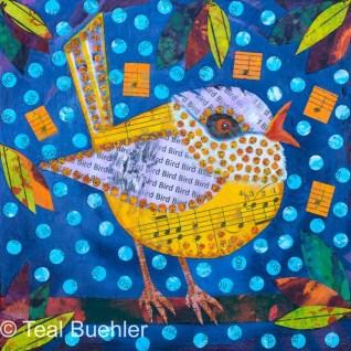 Yellow Bird - 6x6 Collage on wood panel