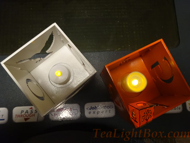 White Owl & Orange Giraffe: Custom Tea Light Box
