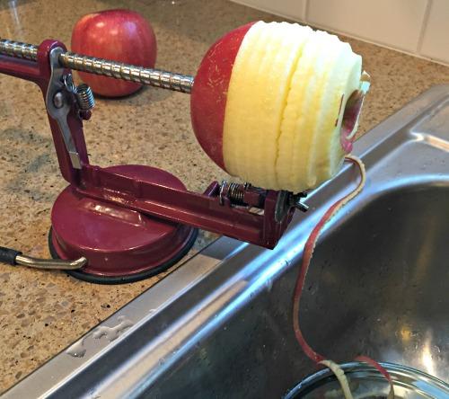 Vegan Apple Cinnamon Cake - Peeling Apples www.tealinspiration.com