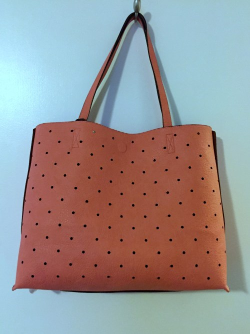 Street Level Hanson Reversible Dot Tote Coral