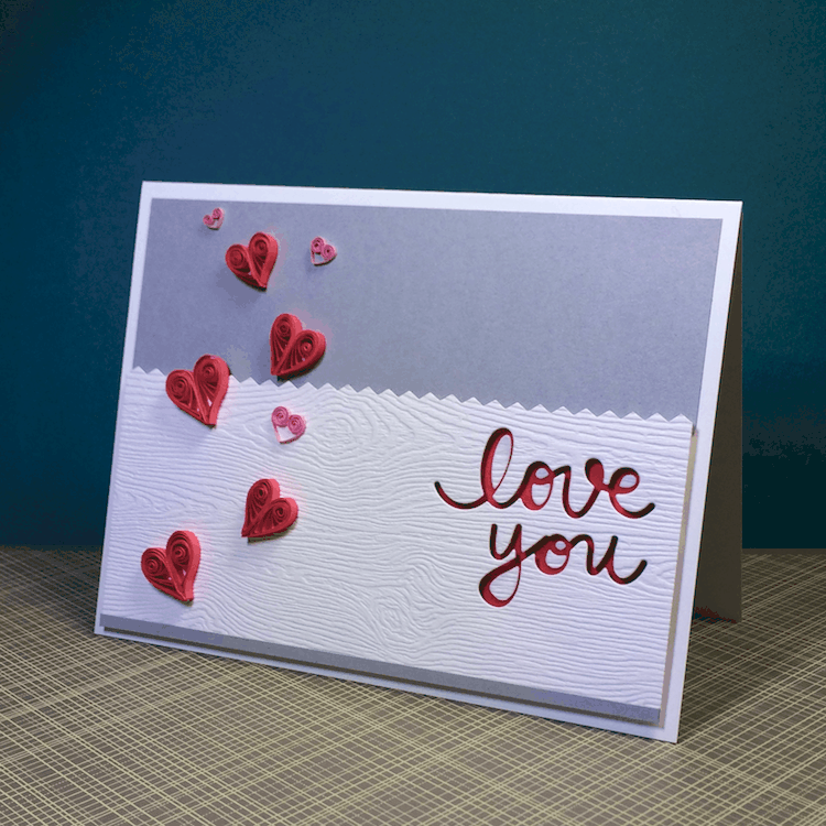 Quilled Hearts on a handmade card for your Valentine!