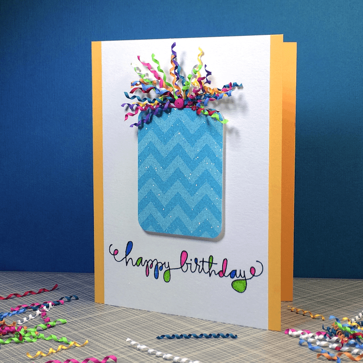 Happy Birthday card with a cute curled quilling strip bow.
