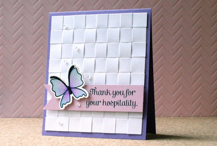 Weaving paper strips to create a card background. It's a great way to use up paper scraps in your stash.