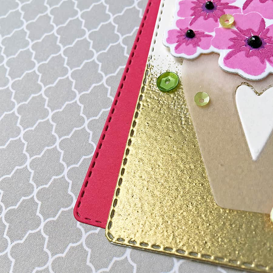 Floral Congrats Tag with a Gold-Dipped Embossed Edge
