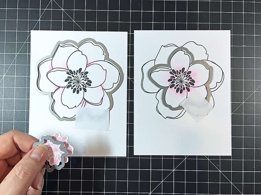 Die cutting the layers of a lovely magnolia with the matching dies.