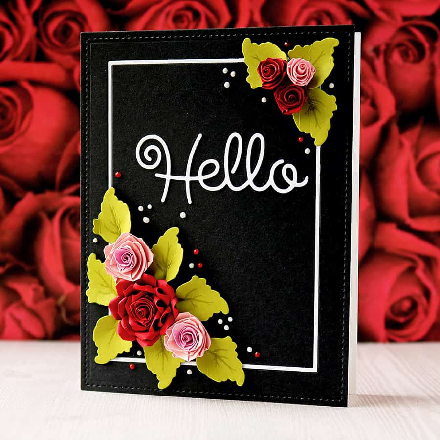 Papertrey January Blog Hop Challenge - Quilled Rose Card