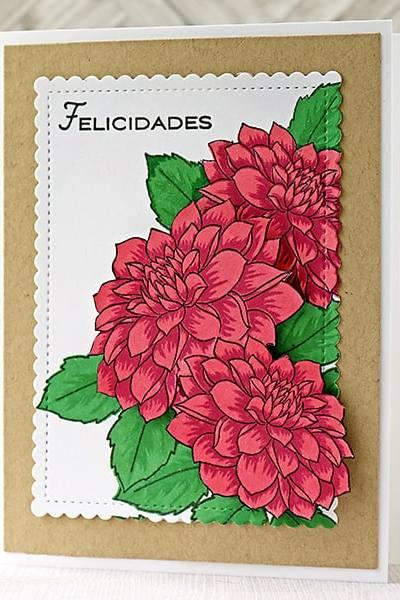 A Bright and Cheerful Layered Dahlias Card