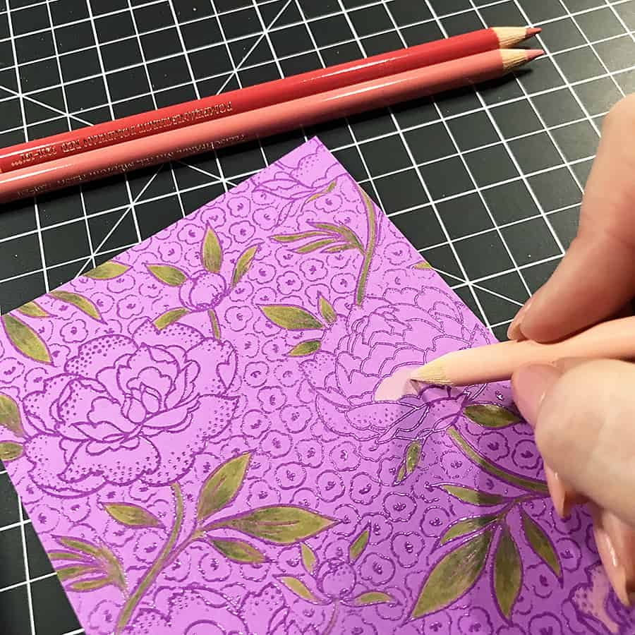 A Hand-Colored Floral Valentine, coloring with the lightest color first