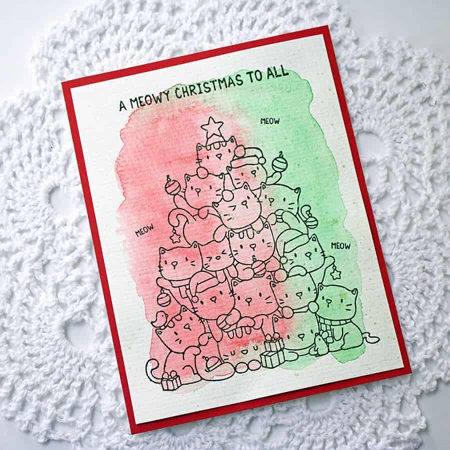 A Meowy Christmas + Nuvo Watercolor Pencils