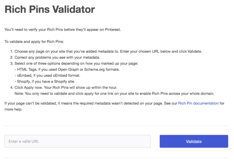 Pinterest Traffic- Rich Pins Validator