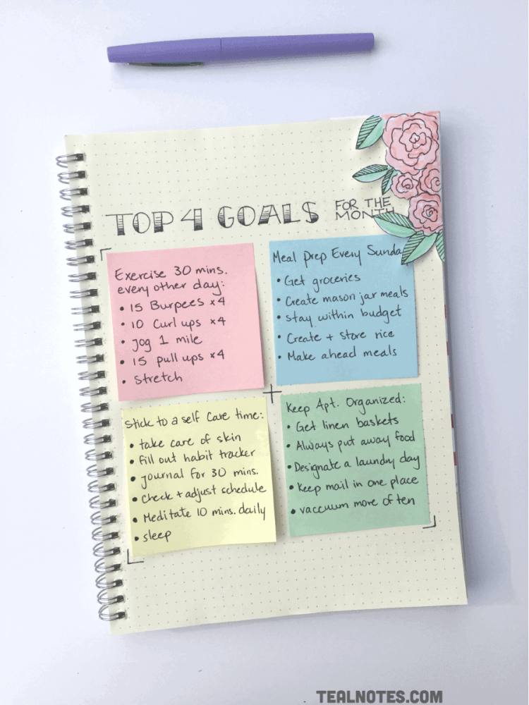 bullet journal goals page