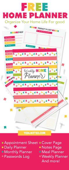 free printable planner 2019, cute home management planner printables, life organization printables, cute organization printables for work
