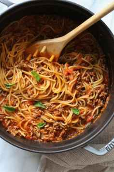 quick dinner ideas, One-Pot-Spaghetti-and-Meat-Sauce-1-2