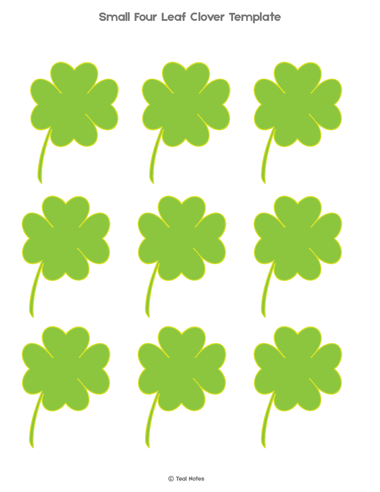 graphic relating to Printable Four Leaf Clovers identified as 4 Leaf Clover Template: Cost-free Shamrock Template Printable