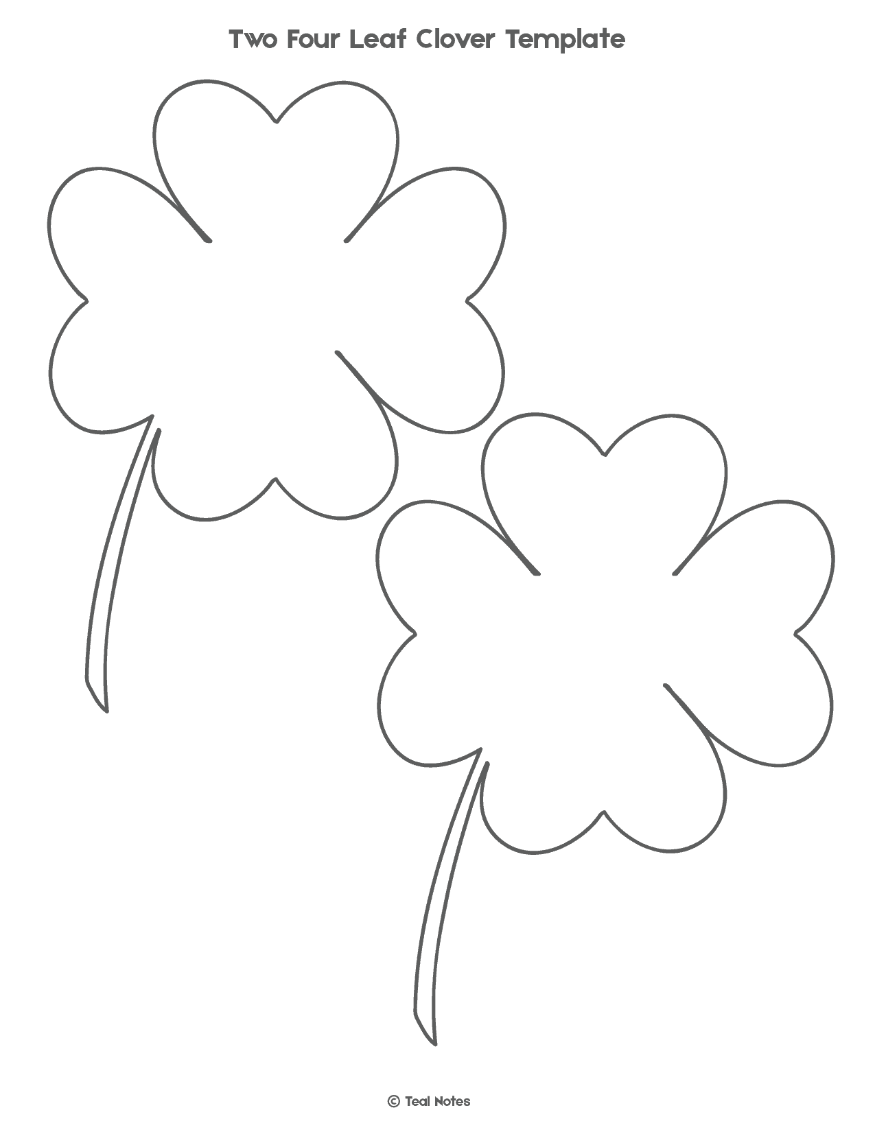 graphic relating to Printable Four Leaf Clovers referred to as 4 Leaf Clover Template: Totally free Shamrock Template Printable