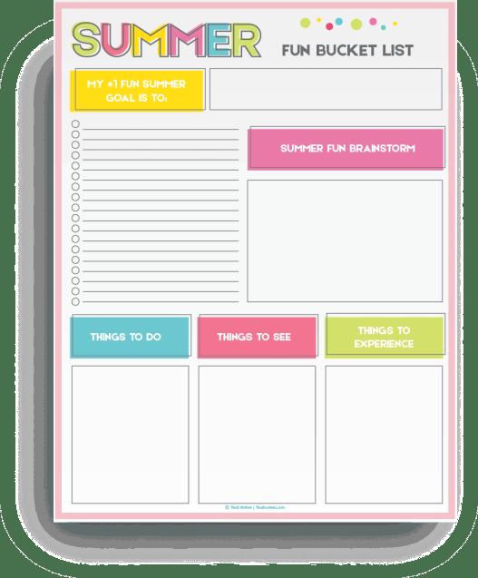 summer bucket list printable template