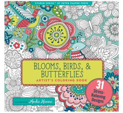 best adult coloring books, blooms birds and butterflies