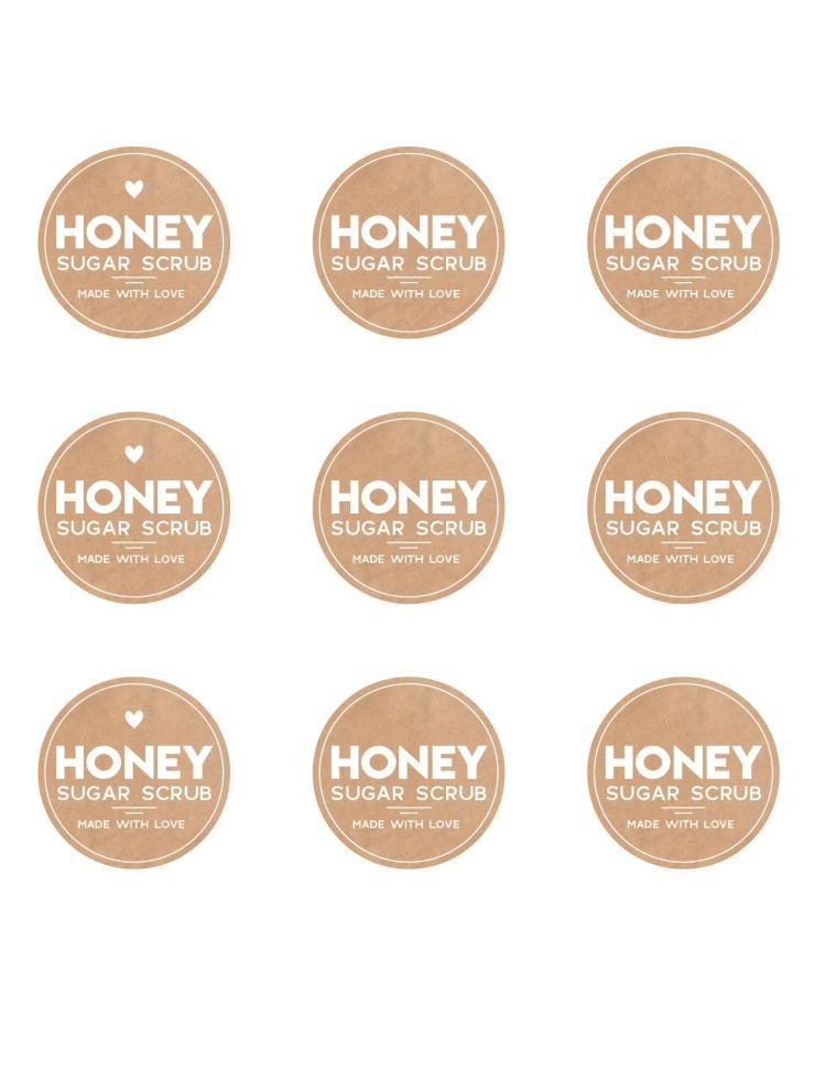 Honey sugar scrub free printable labels
