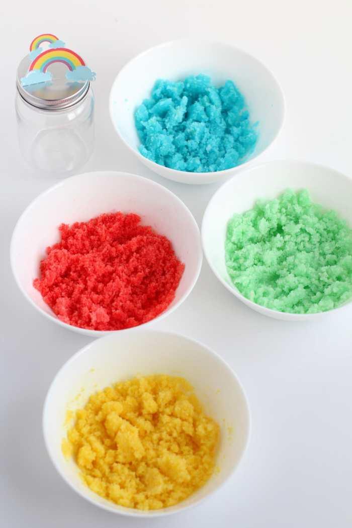 Homemade DIY rainbow sugar scrub