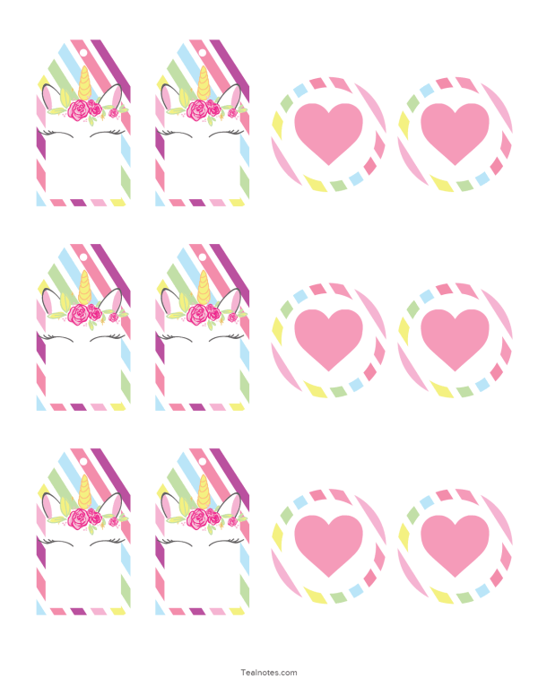 unicorn template stickers and tags