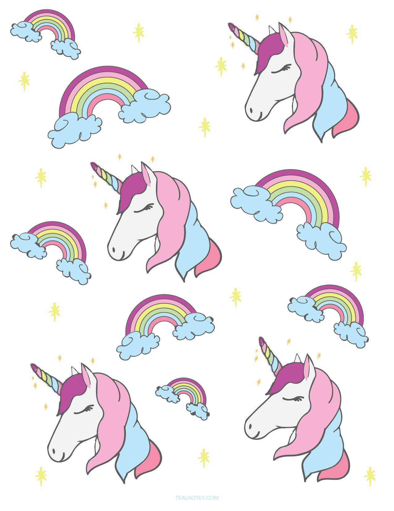 It is a graphic of Unicorn Template Printable pertaining to star