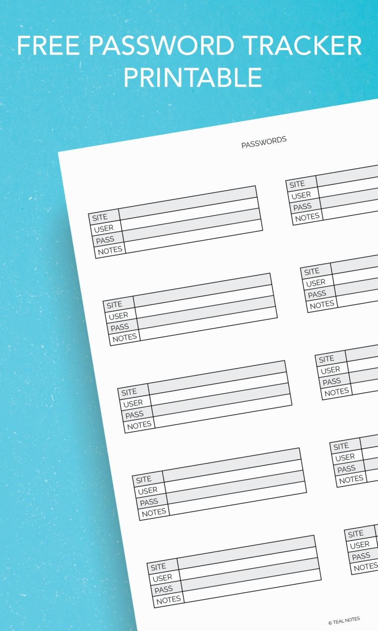 free password tracker printable