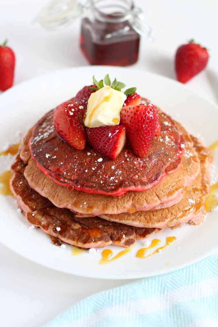 strawberry pancakes   How to make fluffy strawberry pancake recipe