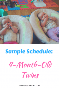 4-month-old twin sample schedule.  Here is a day in the life of baby twins. #babywise #sampleschedule #infanttwins #twins #twinschedule Team-Cartwright.com