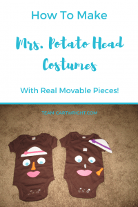 Looking for an easy and fun baby or toddler Halloween costume? Learn how to make Mrs. Potato Head costumes with pieces you can really move around! So easy and fun. #toddler #baby #HalloweenCostume