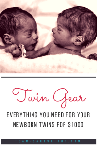 Twins are not cheap. You need two of a lot of baby gear, but not two of everything. How do you know what to get? Here is the ultimate list of what you need for your newborn twins, and it is all on a budget. Get ready for your baby twins for less than $1000. #twins #gear #supplies #registry #newborn #baby #budget #cheap Team-Cartwright.com