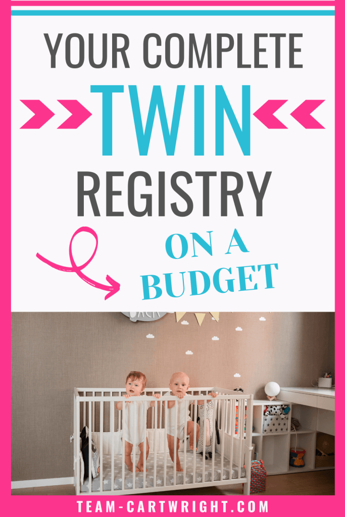 your compelte twin registry on a budget with picture of twins in twin nursery