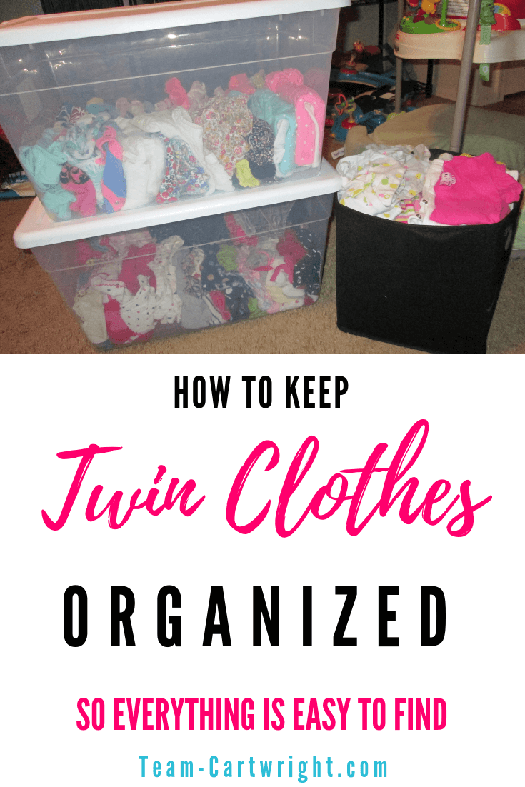 Looking for a way to keep your baby twin clothes organized so they spark joy instead of frustration? Learn how to fold and store your twin's clothing so everything is easy to see and easily accessible. #TwinClothes #BabyTwins #NewbornTwins #KonMari #KonMariMethod #ClothingStorage #TwinClothingStorage Team-Cartwright.com