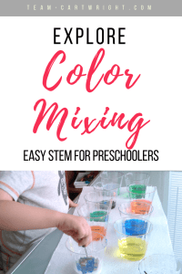 Make your table your lab! Easy color mixing STEM for preschoolers and toddlers. Learn a fun way to teach your children about colors and how they interact! #Colors #ColorChemistry #STEM #ToddlerLearning #PreschoolLearning #ScienceActivity #EasyScience #EastSTEM #LearningActivity Team-Cartwright.com