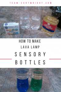 Make an easy and fun lava lamp sensory bottle! Learn about the properties of liquids and help your children calm down. Plus 3 more easy and fun STEM projects for kids! #sensory #bottles #stem #science #activity #craft #toddler #preschooler Team-Cartwright.com