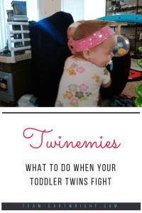 Twinemies: What to do when your toddler twins fight. Toddlers are learning social interactions and having twins means they get a lot of practice. Learn how to calm the situation and end the fights. #toddler #twins #fight #sibling #discipline #individuality Team-Cartwright.com
