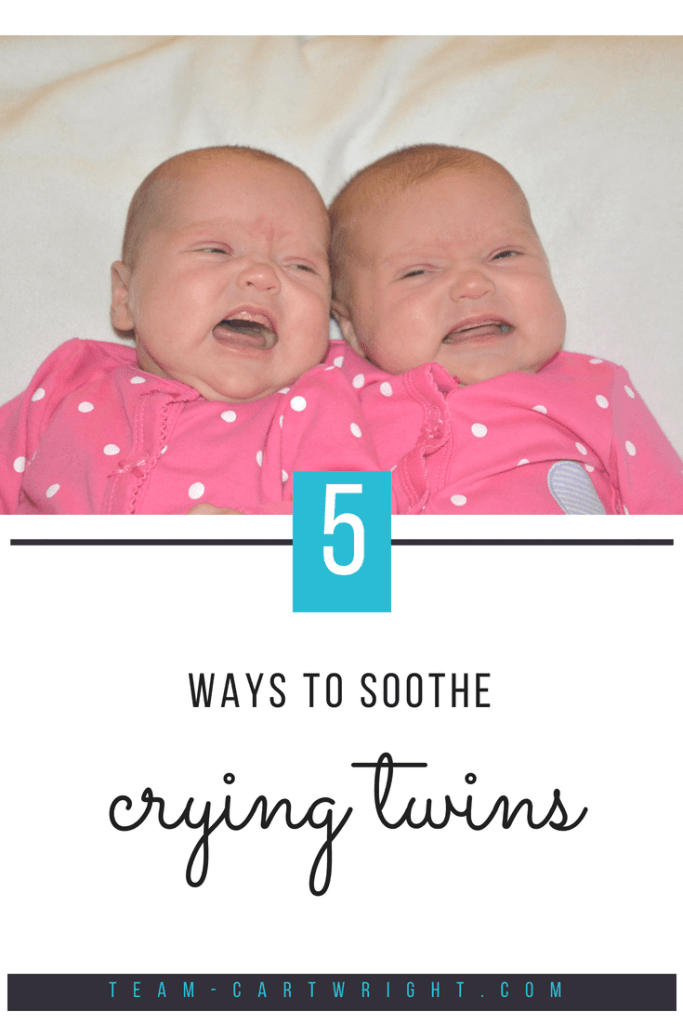 5 ways to soothe your crying newborn twins when you are all alone. #newborntwins #twins #infanttwins #cryingtwins #alonewithtwins #momtips #twinmomtips #newborntwintips #twinhacks #cryingtwins #cryingnewborntwins Team-Cartwright.com