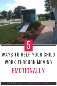 Moving can be hard on children, especially when they are little. Here are my 5 tips to help your child work through the emotions that go along with moving to a new home.  #toddler #moving #emotions #transitions #feelings #preschooler #packing #transition Team-Cartwright.com