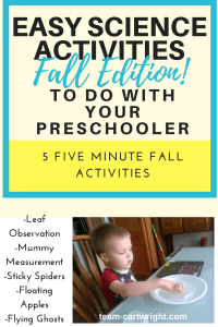 5 Five minute fall science activities to do with preschoolers.