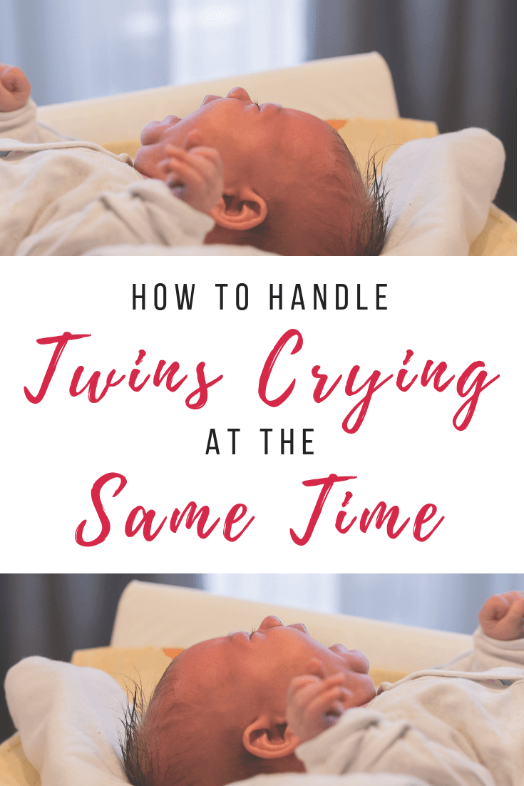 How to handle twins crying at the same time. What do you do when you are alone with your baby twins and they both start crying? You're only one person! Here are 5 ways to handle this on your own. #twins #newborntwins #crying #soothing #alone #twinmom #colic #witchinghour Team-Cartwright.com