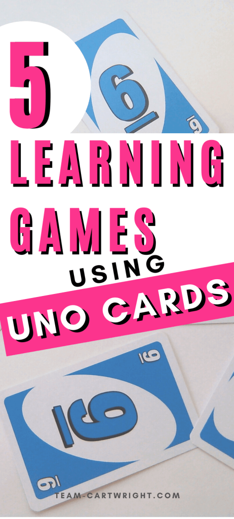 Learning games using Uno Cards for kids