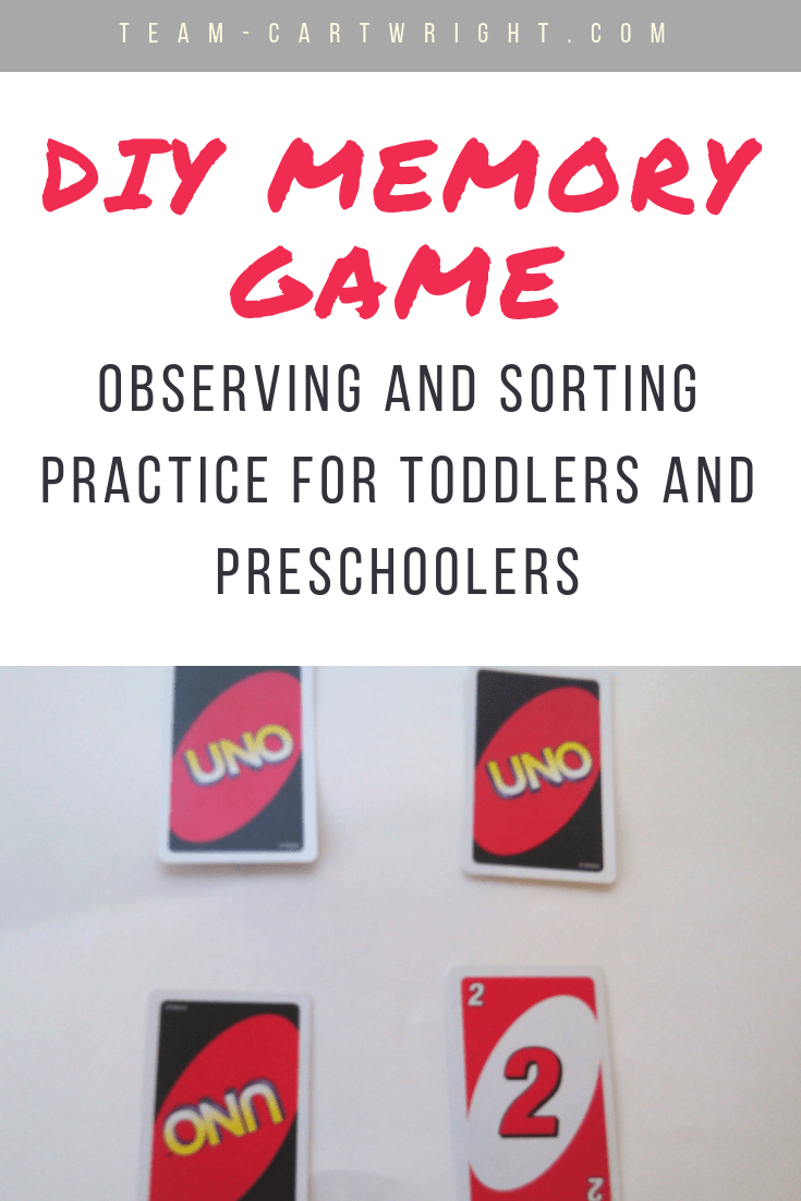 Teach observation and sorting skills with a simple DIY memory game! Grab some cards and do this easy learning activity with your toddler or preschooler. #LearningActivity #MemoryGame #ToddlerLearning #PreschoolLearning #ObservationSkills #SortingSkills #DIYLearning #homeschool Team-Cartwright.com