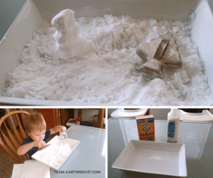 Easy preschool science: How to make fake snow with two ingredients!