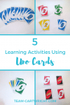 Help your preschoolers and toddlers learn using Uno cards! Fast, easy, and no prep needed. #learning #activities #math #preschool Team-Cartwright.com