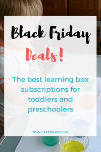 Black Friday Deals 2017! The best learning box subscriptions for #toddlers and #preschoolers. #learningbox #gift #blackfriday #laerningactivity